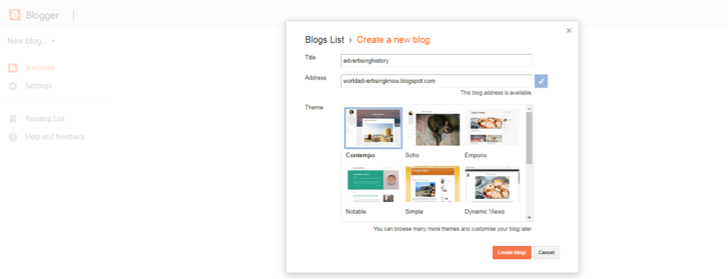 Selecting blog theme over blogger reference image