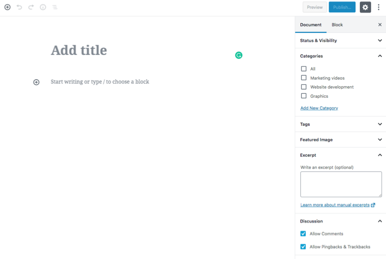 Start adding content wordpress post page reference image